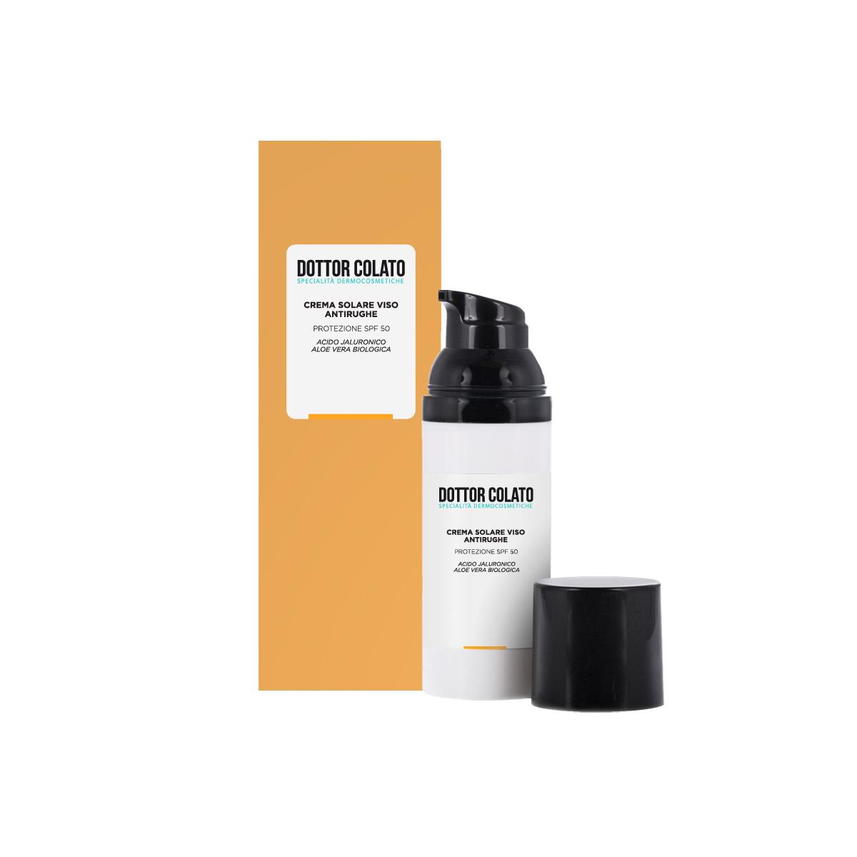 Crema solare viso antirughe con aloe vera bio e acido..